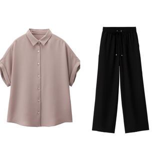 ジーユー(GU)のGU新作 エアリーシャツ& ドローストリングイージーワイドパンツ(カジュアルパンツ)