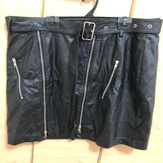 ぽっちゃり大きいサイズ合成皮革ミニスカート(ミニスカート)