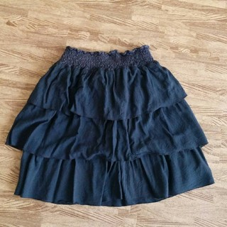 チャオパニック(Ciaopanic)のチャオパニック ティアードスカート M ウエストゴム ネイビー紺(ミニスカート)