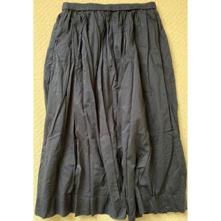 ユニクロ(UNIQLO)のUNIQLO ギャザースカートS ネイビー(ひざ丈スカート)