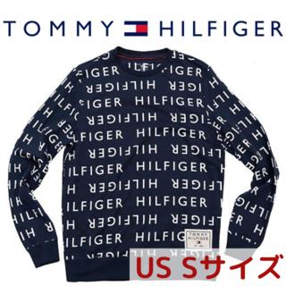 トミーヒルフィガー(TOMMY HILFIGER)のTOMMY HILFIGER スウェット ネイビー 総柄 ロゴ トレーナー(スウェット)
