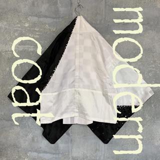 ◆雰囲気抜群◆ 着物 モダンコート 羽織  ホワイト ブラック メンズ(着物)