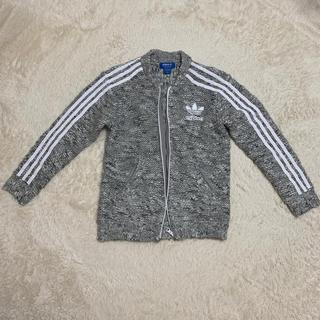 アディダス(adidas)のアディダスオリジナルス ウールニットジャケット ブルゾン グレー ツイード(ニット/セーター)