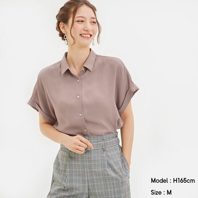 GU(ジーユー)のエアリーシャツ GU  ピンク レディースのトップス(シャツ/ブラウス(長袖/七分))の商品写真