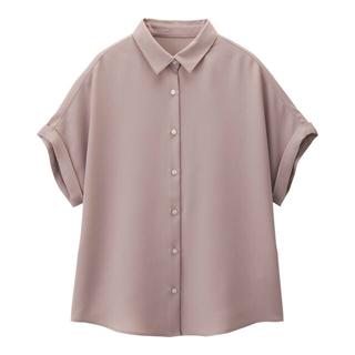 ジーユー(GU)のエアリーシャツ GU  ピンク(シャツ/ブラウス(長袖/七分))