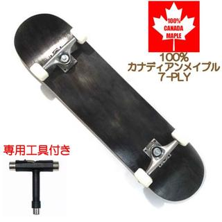 新品 スケートボード コンプリート スケボー ブランクデッキ 完成品 木目 BK(スケートボード)