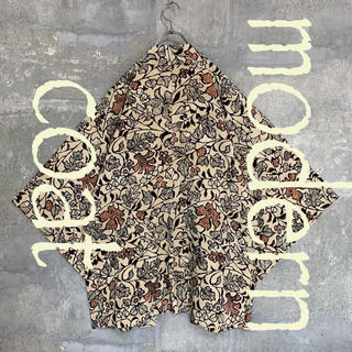 ◆雰囲気抜群◆ 着物 モダンコート 羽織   総柄 植物 花 ベージュ メンズ(着物)