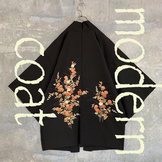 ◆雰囲気抜群◆ 着物 モダンコート 羽織   花 ブラック メンズ(着物)