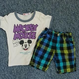 UNIQLO - ユニクロミッキーTシャツ&ハーフパンツ(100)セット売り。