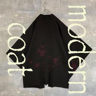 ◆雰囲気抜群 紅蓮の花◆ 着物 モダンコート 羽織   刺繍  ブラック メンズ(着物)