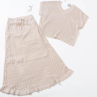 ジーユー(GU)の新品タグ付き【GU】透かし編みVネックセーター/ニットスカート(セット/コーデ)