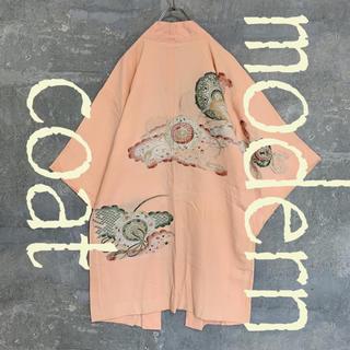 ◆雰囲気抜群◆ 着物 モダンコート 羽織 刺繍 鞠と紐 サーモンピンク メンズ(着物)