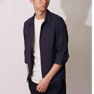 MK MICHEL KLEIN homme - 《ミッシェルクランオム》新品 7分袖 ジップアップシャツブルゾン 紺 46(M)