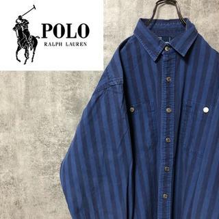 POLO RALPH LAUREN - 【激レア】ポロバイラルフローレン☆メタルボタンストライプヒッコリーシャツ 90s