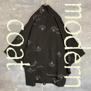 ◆雰囲気抜群◆ 着物 モダンコート 羽織 刺繍 プリント 菊 ブラック メンズ(着物)