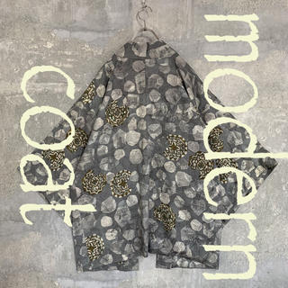 ◆雰囲気抜群 アートデザイン◆ 着物 モダンコート 羽織 グレー メンズ(着物)