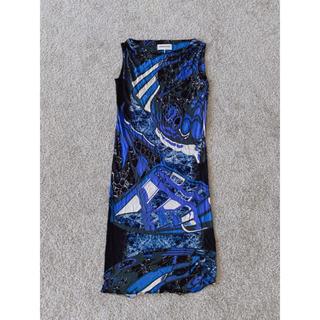エミリオプッチ(EMILIO PUCCI)のエミリオプッチ マーブル柄ワンピース ドレス ブルー ブラック 美品 ノースリ(ひざ丈ワンピース)