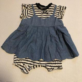 BREEZE - ベビー服 半袖 ロンパース ワンピース デニム ボーダー 女の子 80 美品