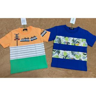 クレードスコープ(kladskap)の新品!クレードスコープ 電車と動物Tシャツ2枚セット♪匿名配送無料(Tシャツ/カットソー)
