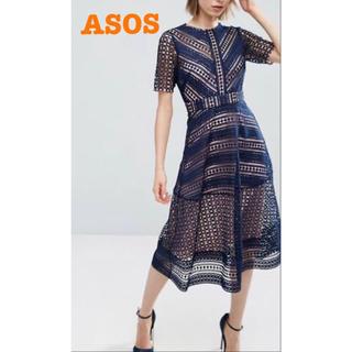 asos - asos エイソス ワンピース レースワンピース  レース ネイビー ドレス
