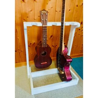手作り木工 ミニギタースタンド(ホワイト)5本掛け(ソプラノウクレレ)