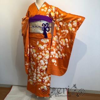 【アンティーク】ロウケツ染♡オレンジに梅が綺麗な振袖♡(振袖)