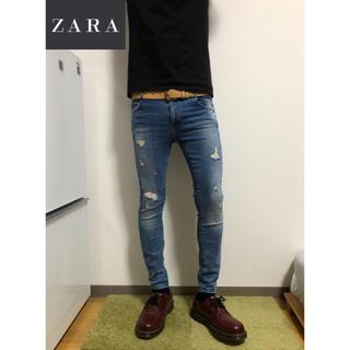 ザラ(ZARA)の【本日発送】ZARA  スキニー ダメージ加工 EUR38即購入OK!②(デニム/ジーンズ)