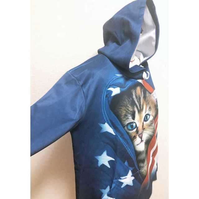 男女OK『USA子猫ビッグパーカー』 メンズのトップス(パーカー)の商品写真