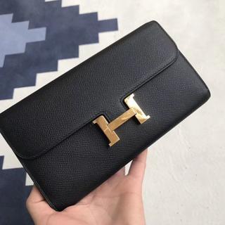 Hermes - エルメス 長財布コンスタンスロングブラックゴールド金具