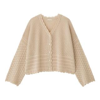 ジーユー(GU)のGU 透かし編みカーディガン(長袖)(セットアップ可能) (カーディガン)
