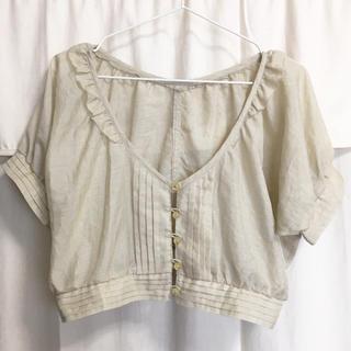 アルカリ(alcali)のalcali アルカリ*フリル襟半袖ブラウス*美品 メルローズ(シャツ/ブラウス(半袖/袖なし))