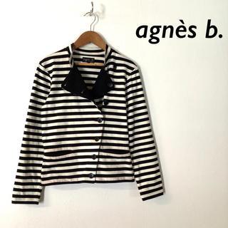 agnes b. - agnes b. ボーダー コットン デザイン襟 ジャケット