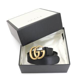 グッチ(Gucci)のGUCCI ダブルGバックル レザーベルト 110/44 ブラック A2329(ベルト)