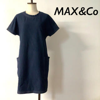 Max & Co. - MAX&Co バックファスナー デニム ワンピース アウトポケット ネイビー