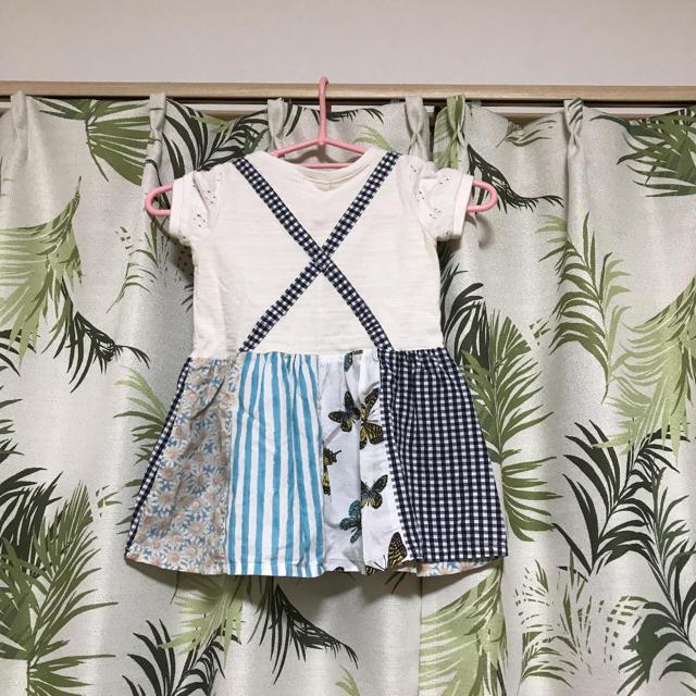 ハンドメイド ベビー服 子供服 女の子 女児 90 キッズ/ベビー/マタニティのキッズ服女の子用(90cm~)(ワンピース)の商品写真