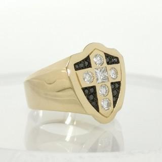 K18 プリンセスダイヤモンド×ブラックダイヤモンド メンズ レディース リング(リング(指輪))