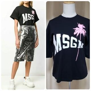 エムエスジイエム(MSGM)のMSGM えむえすじーえむ ロゴプリント Tシャツ ラウンドネック ブラック 黒(Tシャツ(半袖/袖なし))