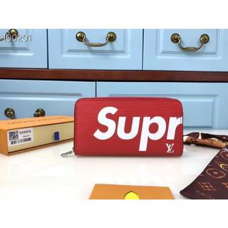 Supreme - 長財布 小銭入れ 札入れ カードケース 大容量 赤