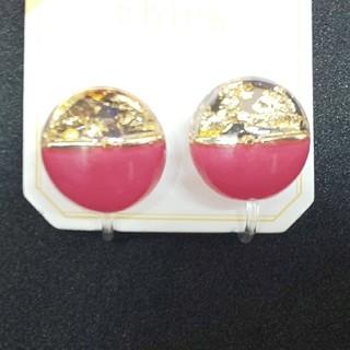 スリーコインズ(3COINS)の3COINS スリコ イヤリング ピンク 金箔(イヤリング)