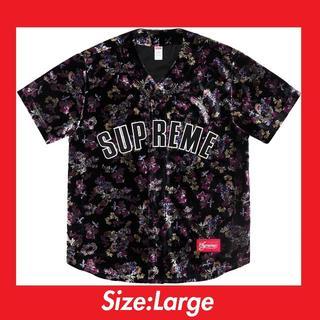 Supreme - L Supreme Floral Velour Baseball Jersey