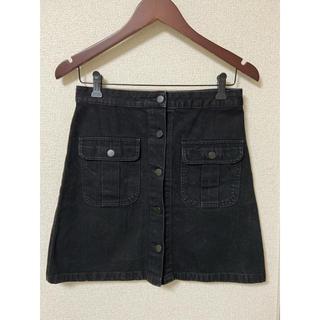 ジーユー(GU)のジーユー GU デニムスカート 黒 ブラック(ミニスカート)
