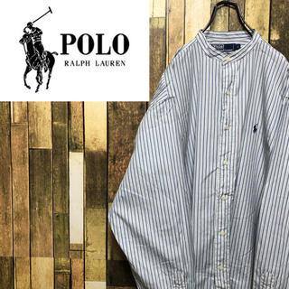 POLO RALPH LAUREN - 【ポロバイラルフローレン】ワンポイント刺繍☆ストライプノーカラーシャツ 90s