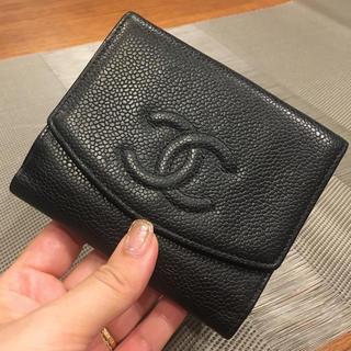 CHANEL - 美品シャネルキャビアスキン二つ折り財布