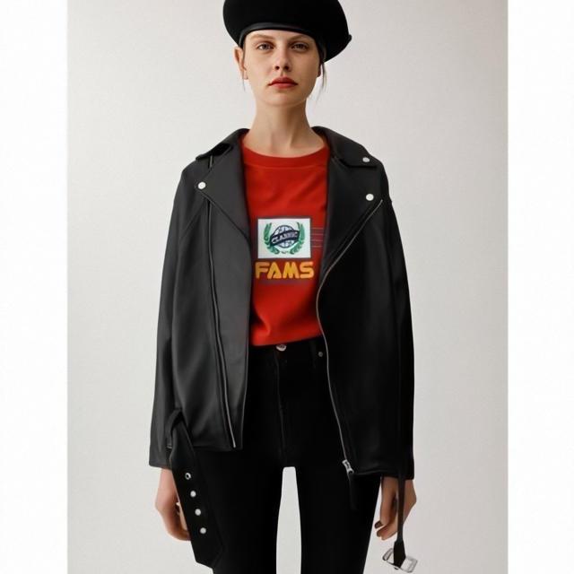 STUDIOUS(ステュディオス)の定価4万 即日発送 新品 本革ダブルライダースジャケット メンズのジャケット/アウター(ライダースジャケット)の商品写真