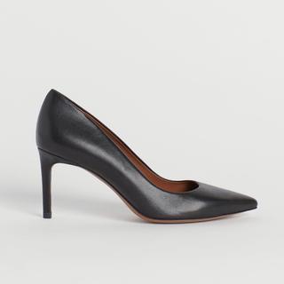 エイチアンドエム(H&M)のリアルレザー ハイヒール ポインテッドトゥ ブラック ピン 黒 本皮 39(ハイヒール/パンプス)