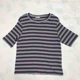 ジーユー(GU)のGU マルチボーダークロップドT(半袖)(Tシャツ(半袖/袖なし))