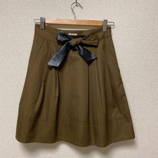 アパルトモンドゥーズィエムクラス(L'Appartement DEUXIEME CLASSE)のSCYE  スカート リボン カーキ  36(ひざ丈スカート)
