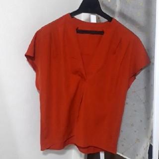 シマムラ(しまむら)のダークオレンジ 半袖ブラウス トップス(シャツ/ブラウス(半袖/袖なし))