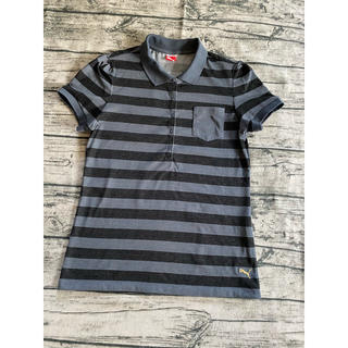 プーマ(PUMA)のPUMA ポロシャツ グレー地に黒のボーダー L(ポロシャツ)