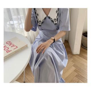 dholic - 韓国fashion*blue レトロ襟 ワンピース 070